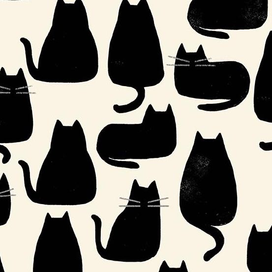 Quarter 52cmx56cm - Andover - Home - Whiskers - chat noir