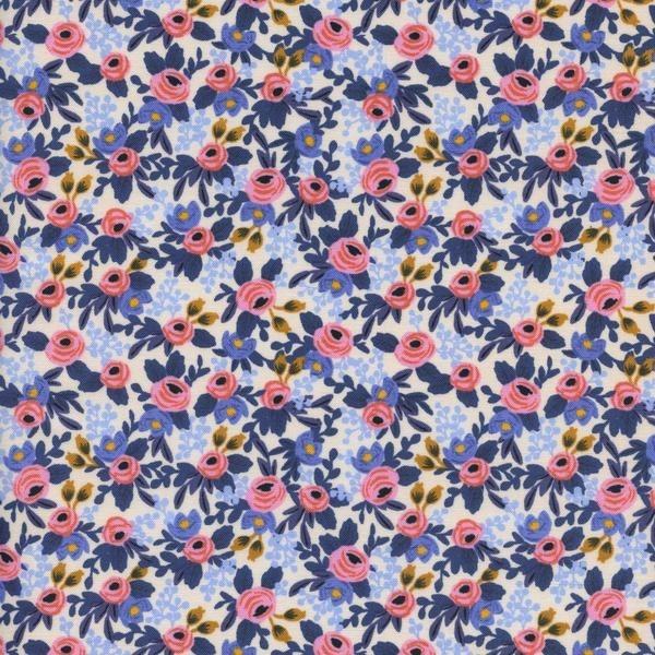 Cotton and Steel - Rifle Paper Co. - Mini Les Fleurs - hellblau