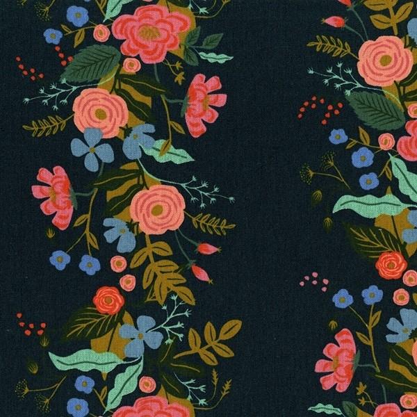 Cotton+Steel Canvas - Floral Vines - navy