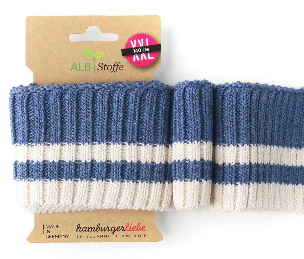 Albstoffe Cuff me Bündchen Cozy Stripes blau-weiß