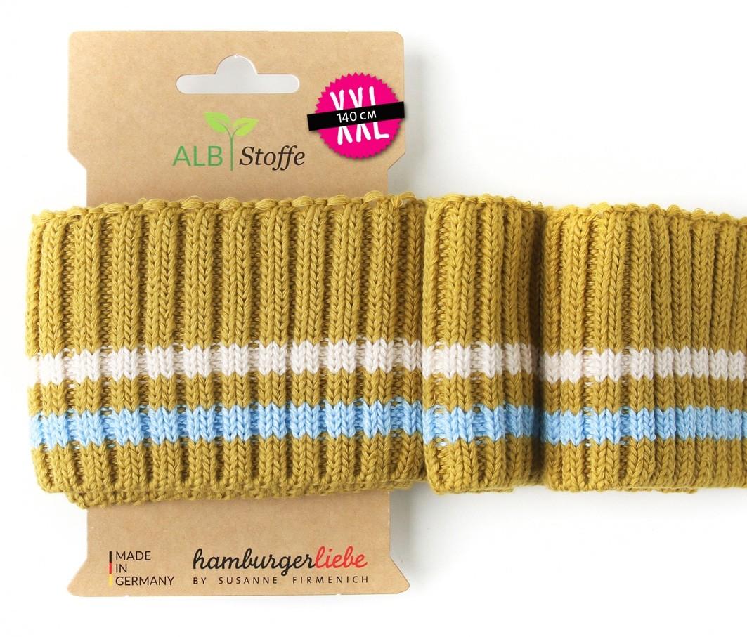 Albstoffe Cuff me Bündchen Cozy Stripes senf