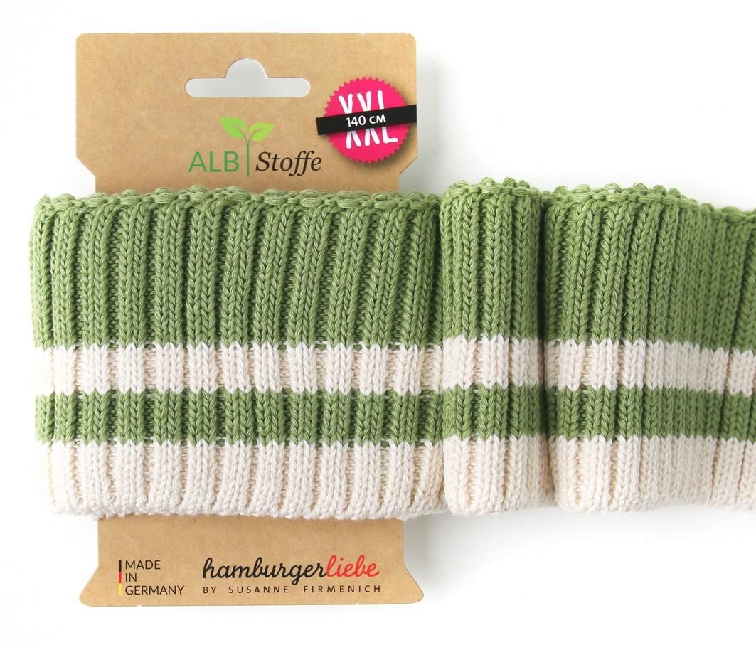 Albstoffe Cuff me Bündchen Cozy Stripes grün-weiß