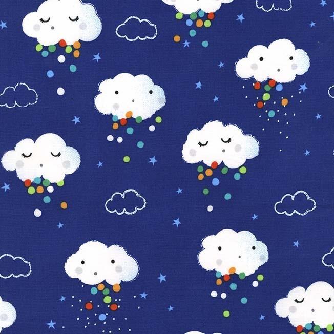 "Reststück 1,32mx1,12m - Michael Miller ""Showery"" Regenwolken Pitter Patter"