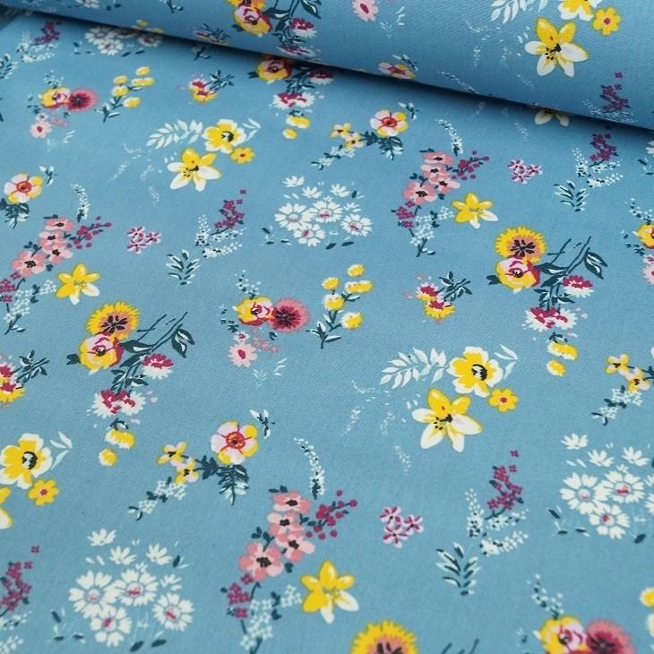 Beschichtete Baumwolle - Frühlingsblumen blau