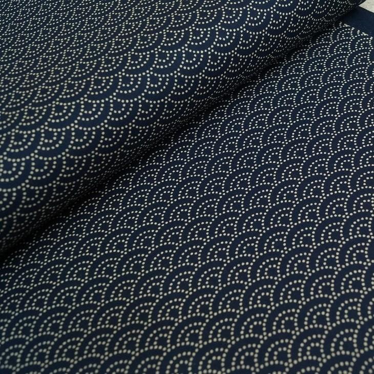 Baumwollstoff - Japanische Halbkreise - dunkelblau