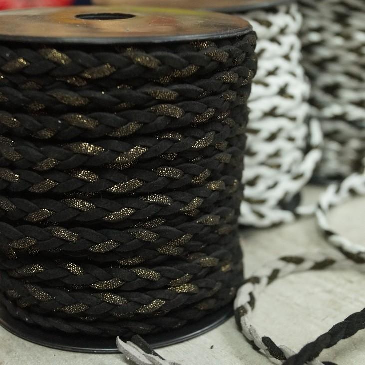 Geflochtenes Lederband / Kordel - schwarz-glitzer