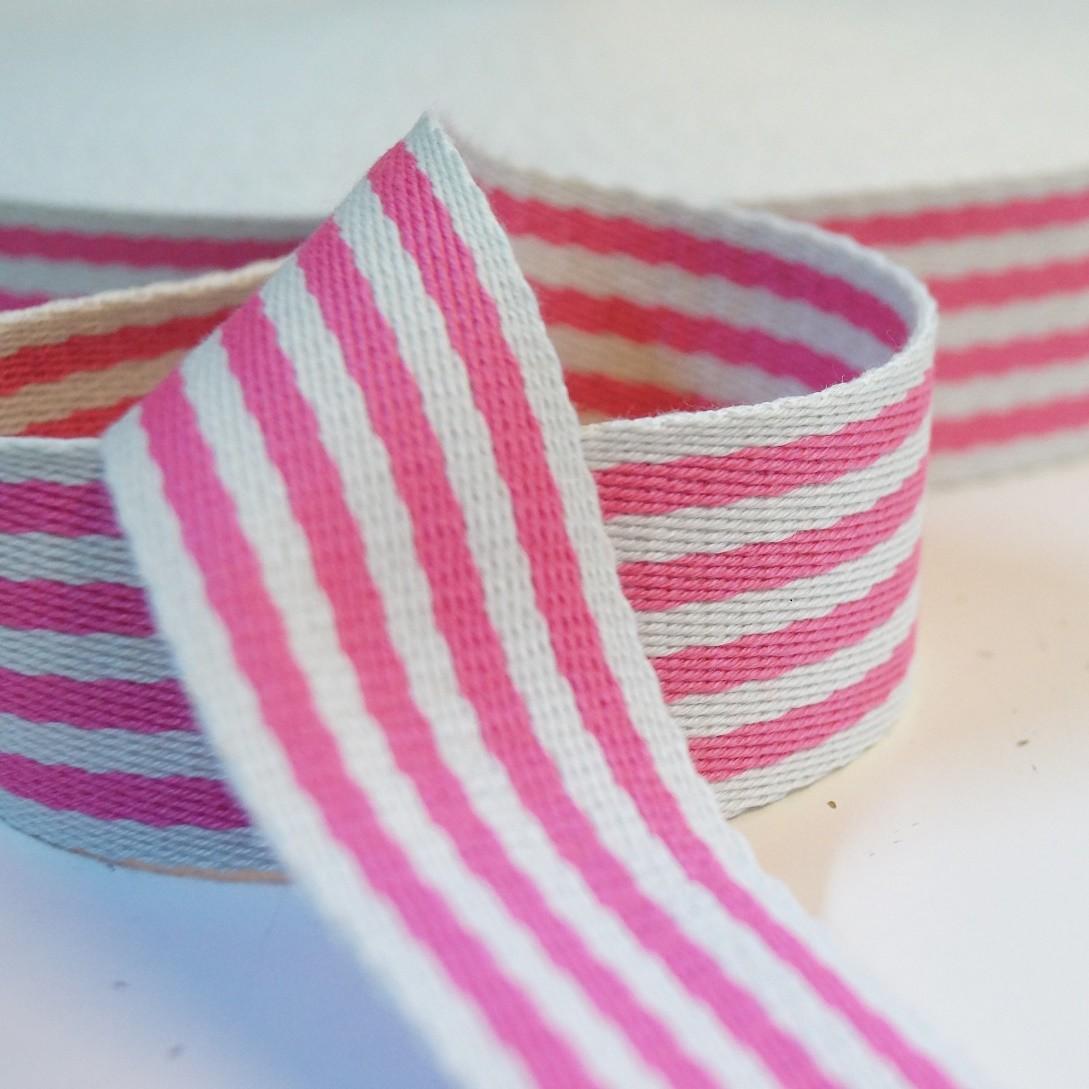 Gurtband Baumwolle 38mm breit - pink-weiss