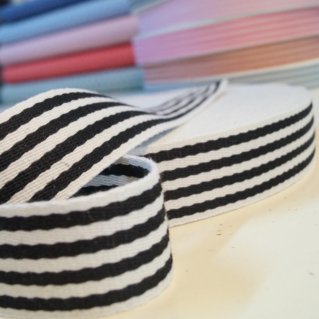 Gurtband Baumwolle 38mm breit - schwarz-weiss