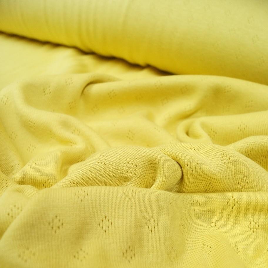 Interlockjersey Pointelle mit feinem Lochmuster - gelb