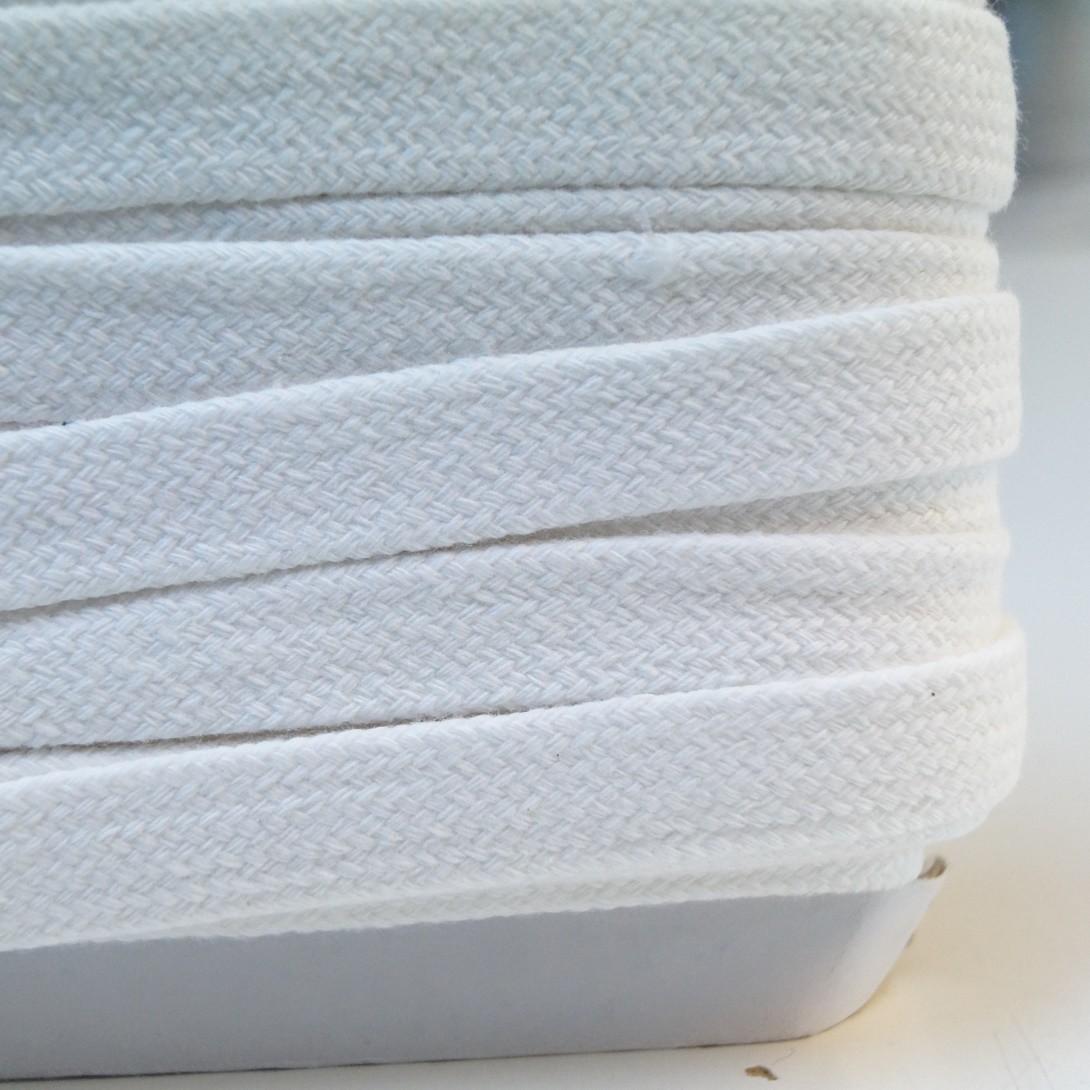 Flache Baumwoll-Kordel - 1.5cm breit - naturweiss