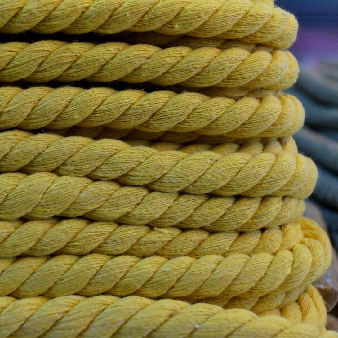Gedrehte Mega-Baumwoll-Kordel - 1,4cm - gelb