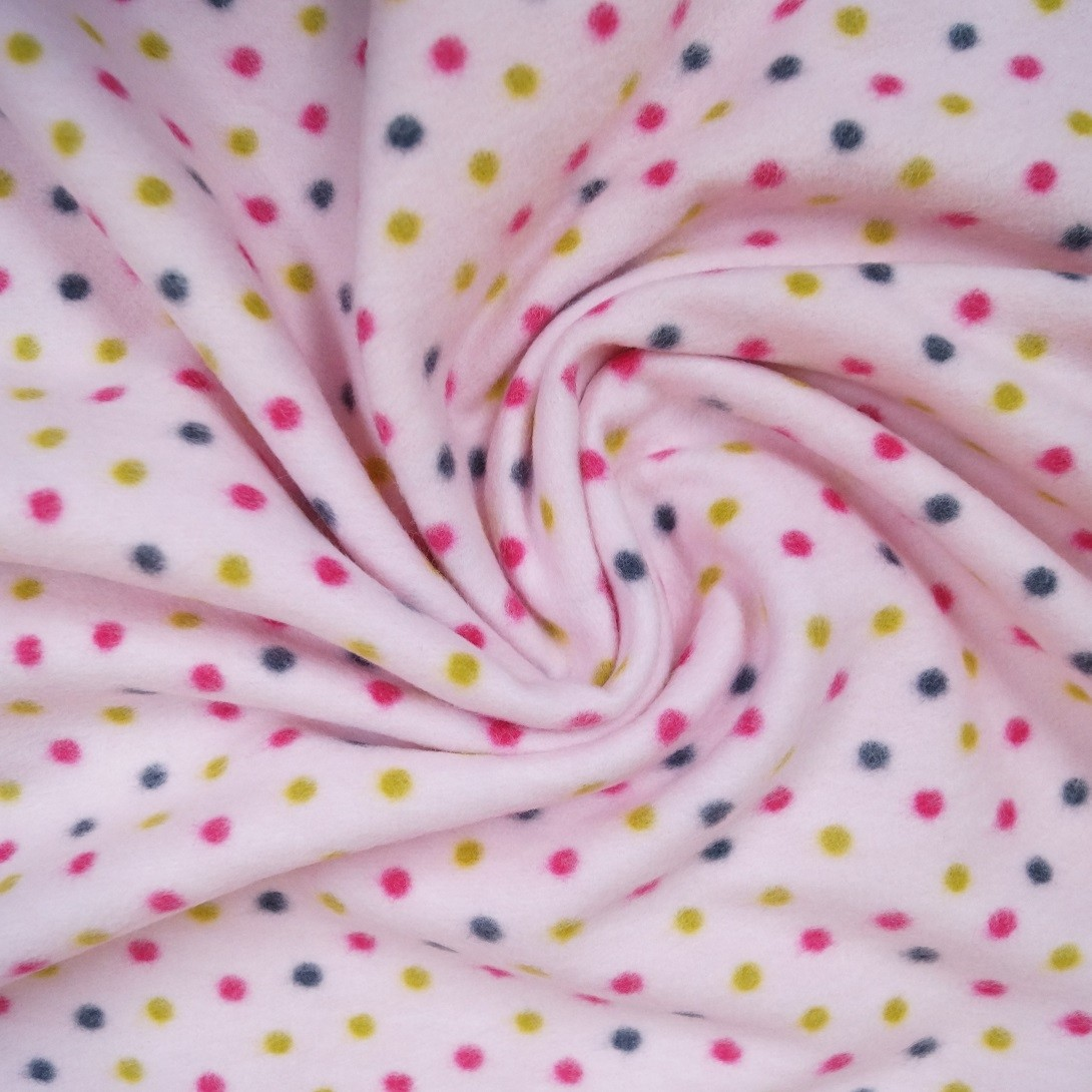 Colour Dots - 100% Baumwollfleece - rosé