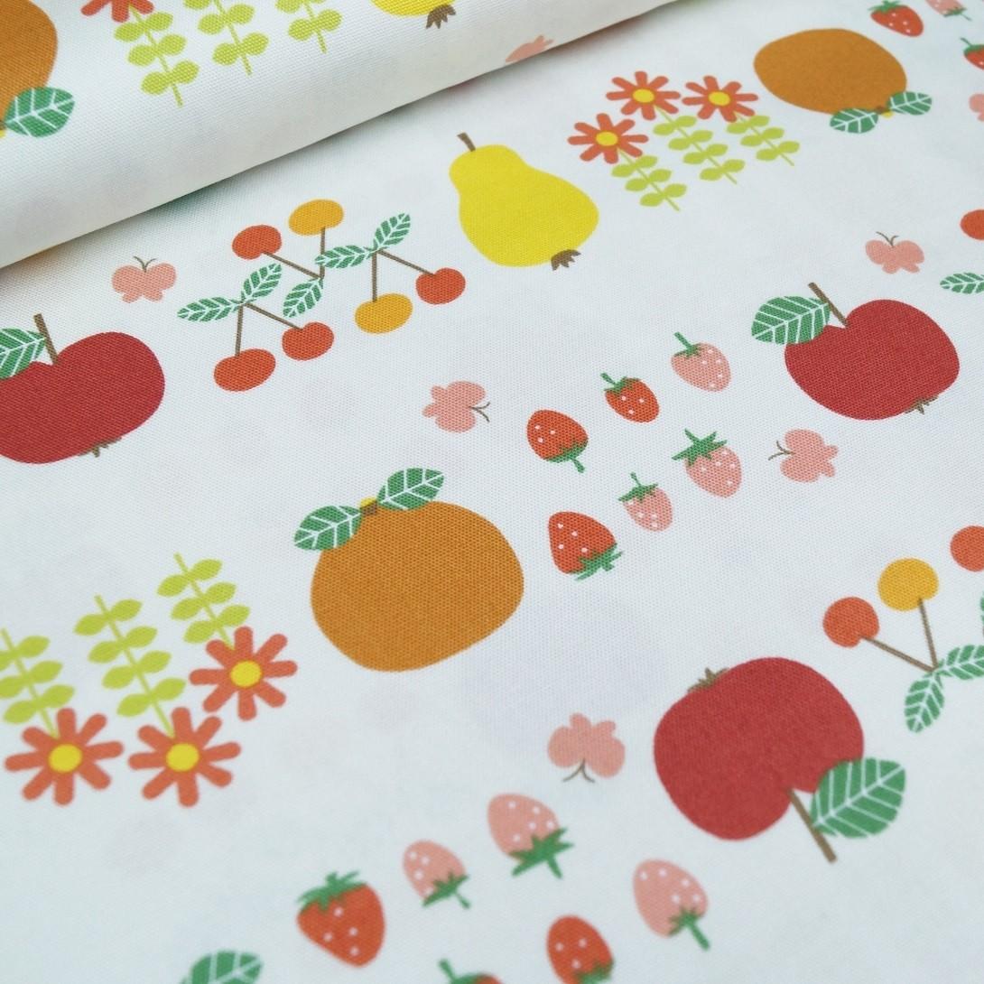 Baumwoll-Canvas rot-gelb-orange Früchte