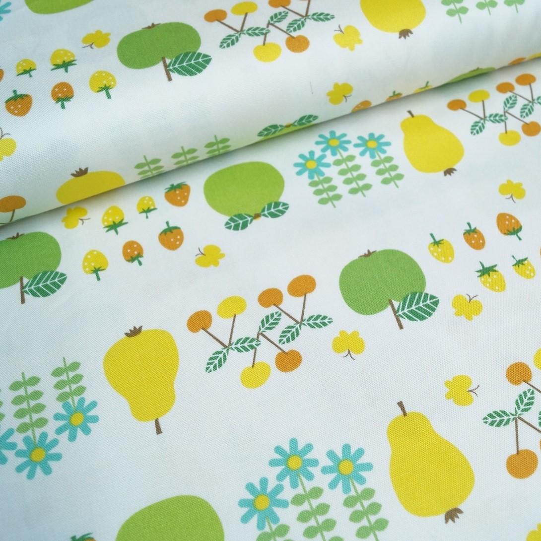 Baumwoll-Canvas grün-gelbe Früchte
