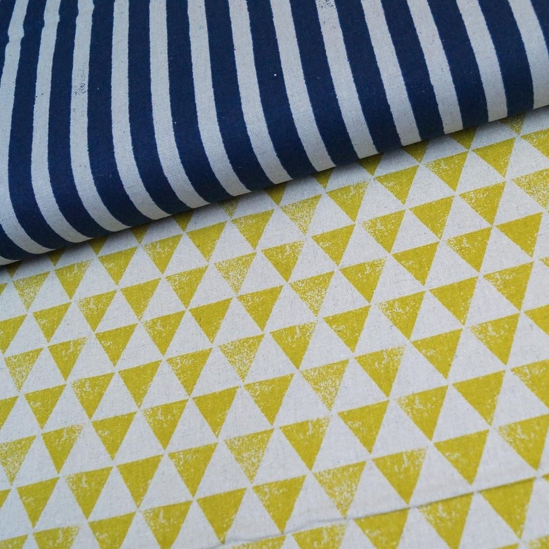 Kokka Echino Nico - Kombi-Print - Streifen und Dreiecke