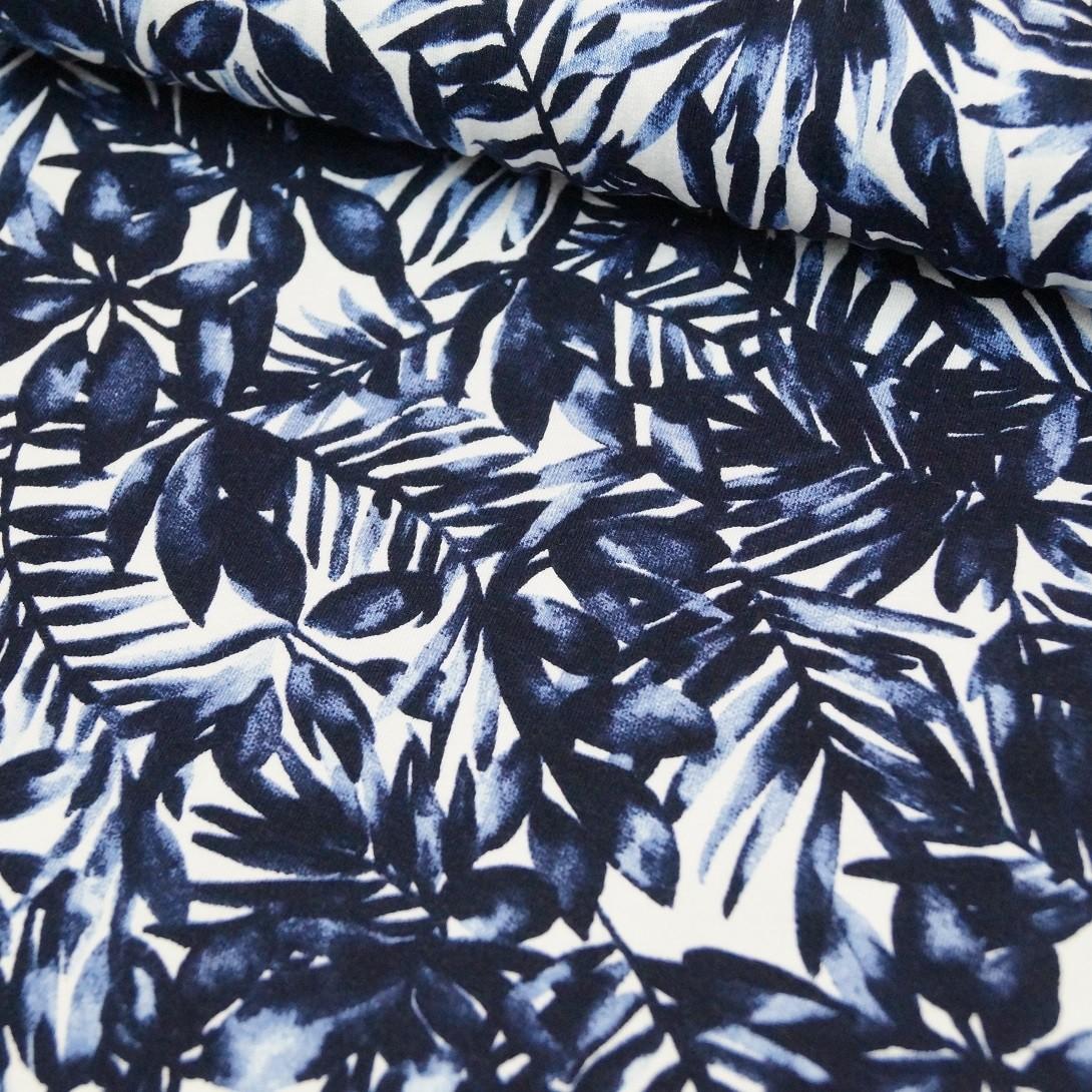 Viskosejersey weiß-blauer Palmenprint