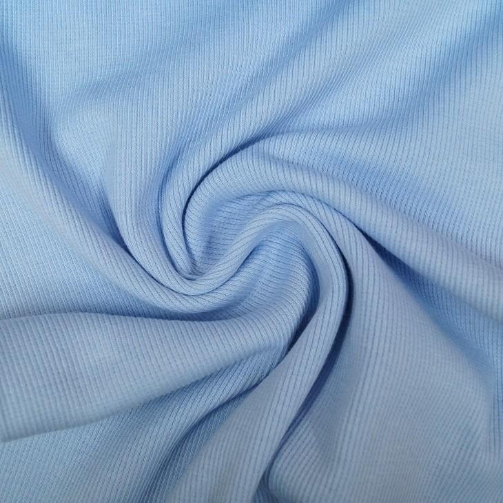 Rib Bündchen Uni hellblau im Schlauch