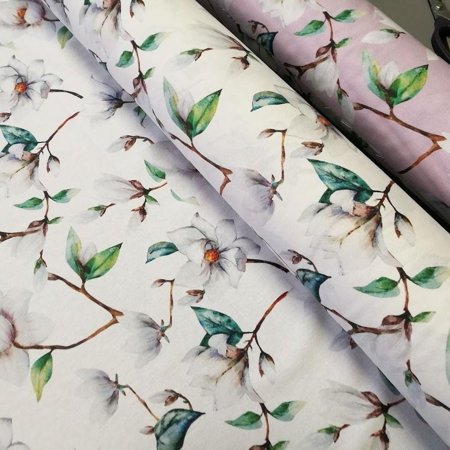 Dekostoff / Canvas Magnolien - weiß