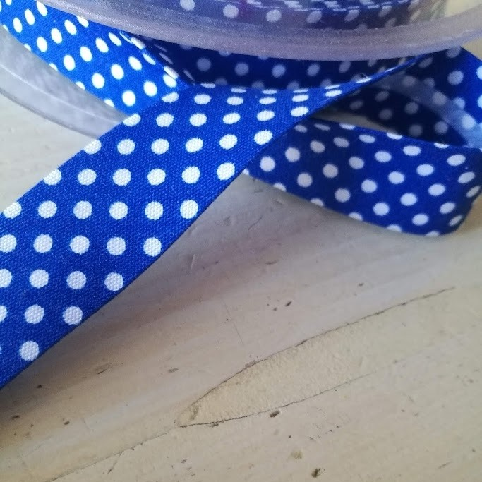 Schrägband - Pünktchenband in blau