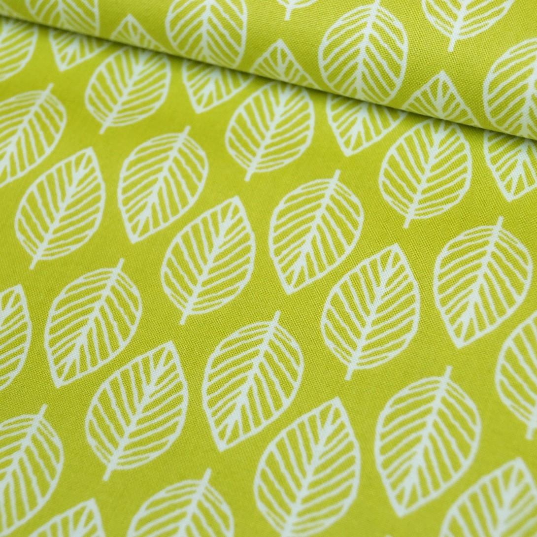 Patchworkstoff mit Blättern - grün - Makower