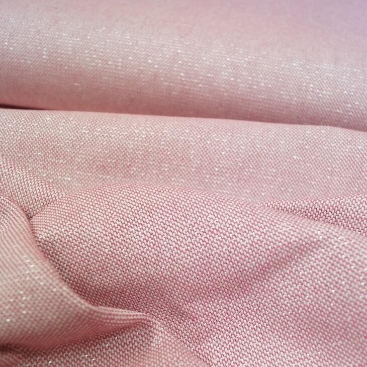 Glitzer - Canvas mit silber Lurex-Faden in rosé