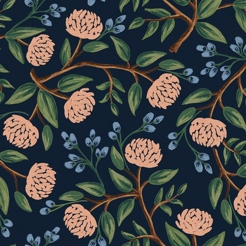 Cotton+Steel Canvas - Wildwood - Peonies blue