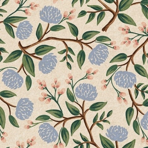Cotton+Steel Canvas - Wildwood - Peonies cream