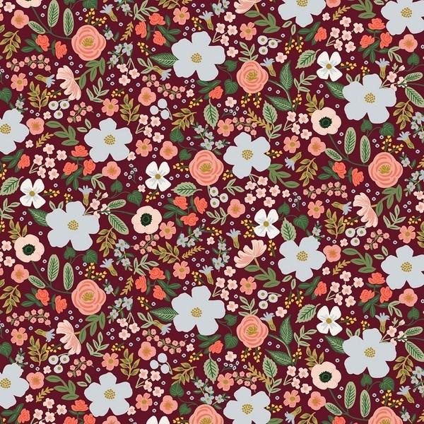 Cotton and Steel - Garden Party - Wild Rose - burgundy metallic