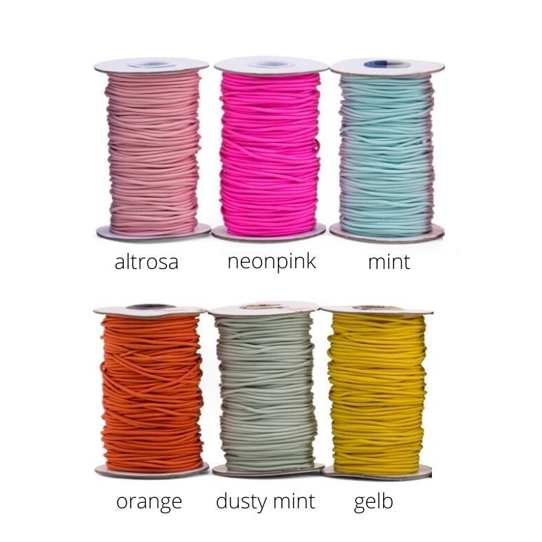 50m Rundgummi / elastische Kordel - 2mm - verschiedene Farben