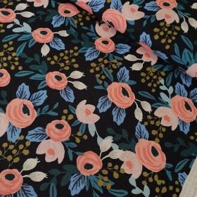 Cotton+Steel Canvas - Garden Party - Rosa unbleached black