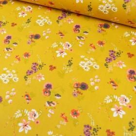 Beschichtete Baumwolle - Frühlingsblumen yellow