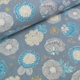 Leinenmix-Canvas Flowerdots - grau - metallic