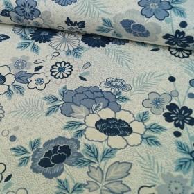 Makower - Indigo Linen - Floral Montage