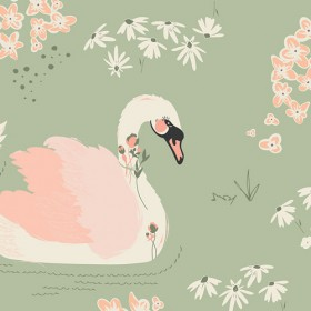 "Art Gallery - Hello, Ollie - ""Dabbling Swan Sage"" by Bonnie Christine"