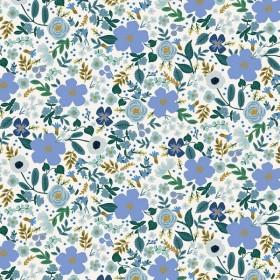 Cotton and Steel - Garden Party - Wild Rose - blue metallic