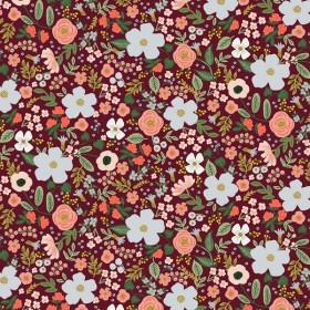 Cotton and Steel - Garden Party - Wild Rose - burgundy metallic