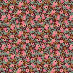 Cotton and Steel - Garden Party - Rosa Minis - burgundy metallic