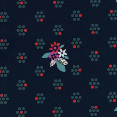 Cotton and Steel - Fruit Dots - Fruit Blossoms navy