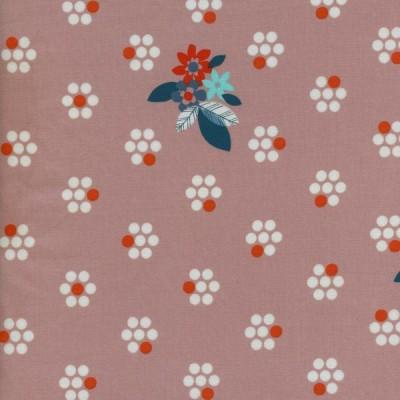 Reststück 92cmx112cm - Cotton and Steel - Fruit Dots - Fruit Blossoms pink