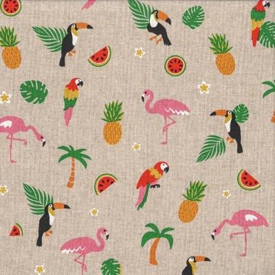 """Canvas """"Emil"""" Flamingo und Freunde unter Palmen"""