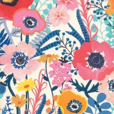 """Flowers"" white - Botanica- Moda Fabrics"