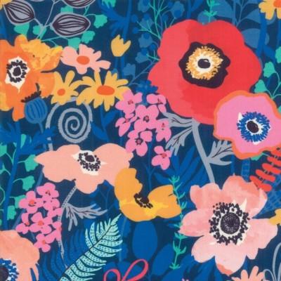 """Flowers"" navy - Botanica- Moda Fabrics"