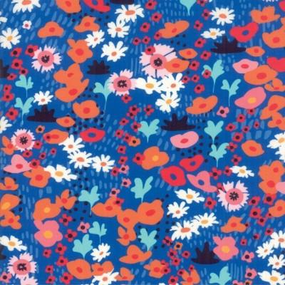 """Little Flowers"" navy - Botanica- Moda Fabrics"