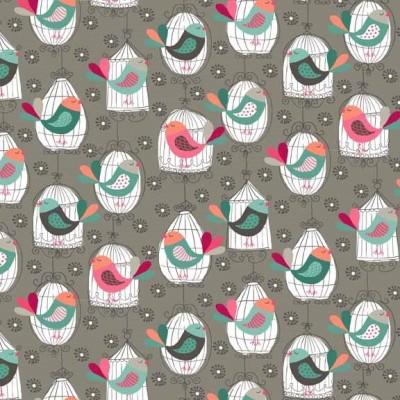 Makower - Cats Birdcages grau