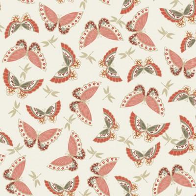 Reststück 1,37mx1,12m - Makower - Japanese Garden - Butterflies red