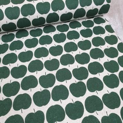 Quarter 55cmx55cm  - Canvas Äpfelchen - ecru-grün