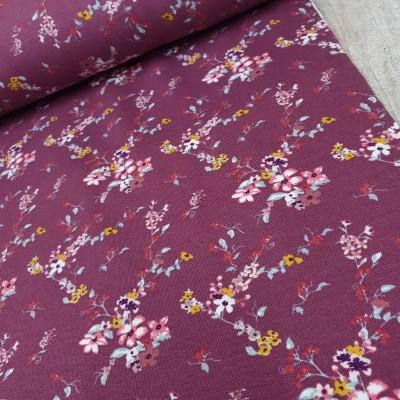 French Terry Little Flowers - darkberry