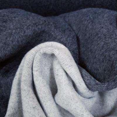 Reststück 32cmx150cm - Wolloptik Doubleface - uni anthrazit/hellgrau-weiß