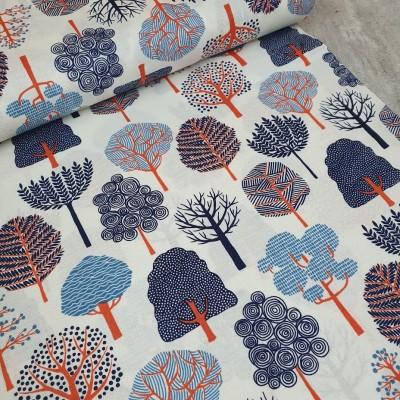Baumwollstoff - Garden Trees - weiß
