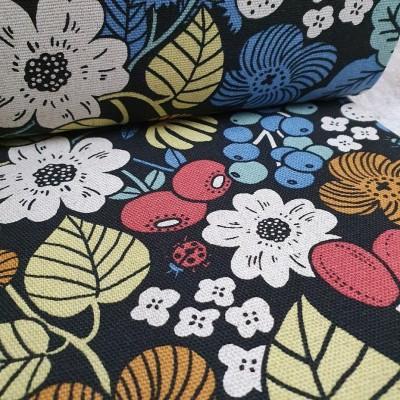 Baumwoll-Leinen Mix Canvas - Blumenmix schwarz